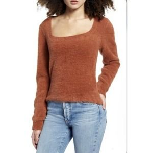 Astr The Label Fuzzy Crop Sweater Square Neck Soft